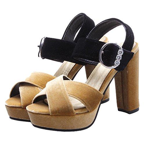 YE Damen Wildleder Knöchelriemchen High Heel plateau sandalen mit Blockabsatz und Schnalle Pumps Schuhe Gelb