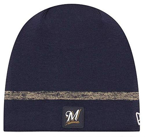 (New Era MLB Milwaukee Brewers Clubhouse Stocking Knit Hat Beanie Skull Cap Navy)