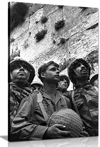 (Panther Print Paratroopers At The Western Wall Box Framed Canvas Print 30 X 20 Inches (76.2Cm X 50.8Cm) 76.2 x 50.8)