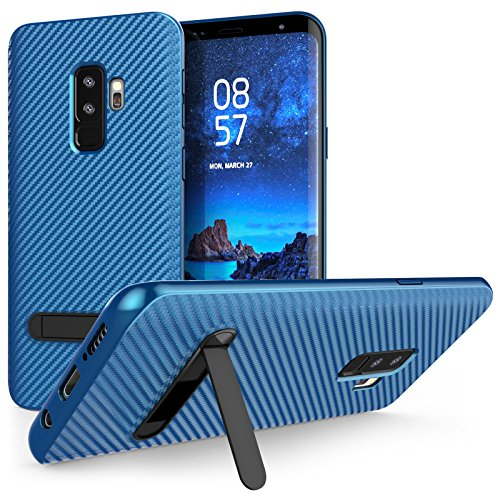Caseflex Galaxy S9 Plus Carbon Fibre Case with Slim Protection and Stand for the Samsung Galaxy S9 Plus (2018) - Blue - CS0007SAPL - Fibre Case