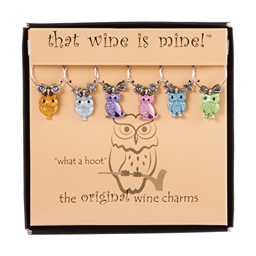 Wine Things WT-1622P What a What a Hoot, Painted Wine Charms, Fits neatly around stem, Multi-Color]()