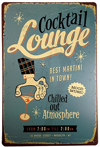 - ERLOOD Cocktail Louhge Best Martini in Town Retro Vintage Tin Sign 12