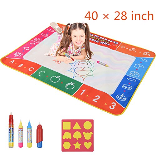 Cozytime Large Magic Water Doodle Mat Multicolor 40 X 28 Inch Kids Drawing Mat Pad with 3 Water Drawing Pens, 1 Brush and 9 Molds, Learning Educational Toys Gifts for 2 3 4 5 Girls Boys Toddlers
