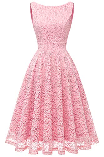 Bbonlinedress Women's Short Floral Lace Bridesmaid Dress V-Back Sleeveless Formal Cocktail Party Dress Pink M