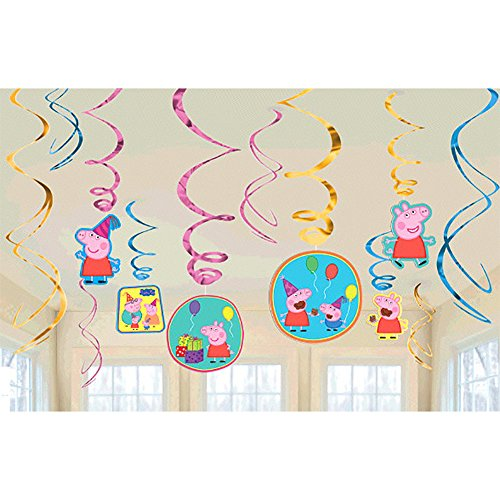 Peppa Pig  Birthday Party Foil Swirl Decorations, Pack of (Peppa The Pig Party Supplies)