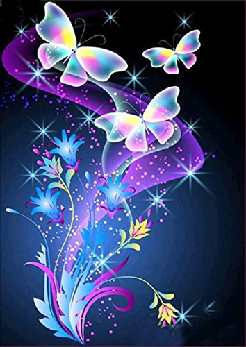 5D Diamond Painting Kit,Color Butterfly DIY Rhinestone Pasted