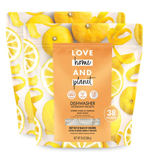 Love Home and Planet Dishwasher Detergent Packets Citrus Yuzu & Vanilla 38 Count (Pack of 2)