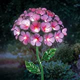 Exhart Hydrangea Garden Stake, 26 LED Lights, Solar Powered, Metal, Pink, 7''L x 7''W x 21''H