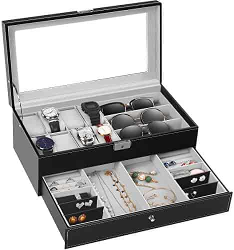 TomCare Upgraded Watch Box Watch Case Watch Organizer HolderJewelry Display Box Case Drawer Sunglasses Storage Earrings Storage Organizer Lockable with Glass Top and PU Leather for Men Women, Black