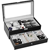 TomCare Upgraded Watch Box Watch Case Watch Organizer Holder Jewelry Display Box Case Drawer
