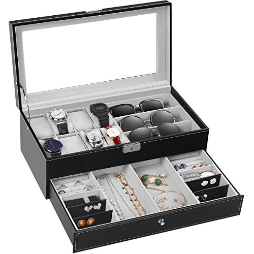- TomCare Upgraded Watch Box Watch Case Watch Organizer Holder Jewelry Display Box Case Drawer Sunglasses Storage Earrings Storage Organizer Lockable with Glass Top and PU Leather for Men Women, Black