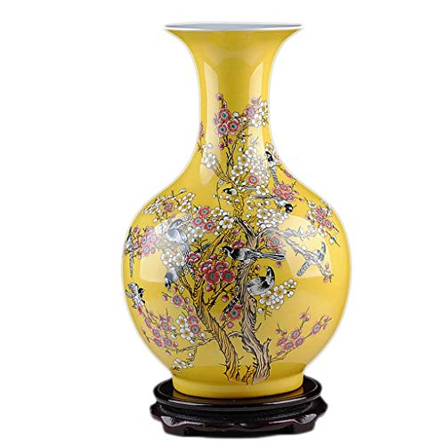 Vase Ceramic Yellow Modern Chinese Flower Arrangement Porcelain Bottle Crafts Home Decoration DELICATEWNN