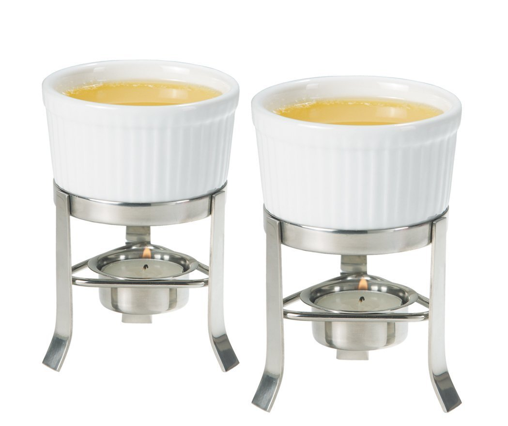Oggi 2-Piece Butter Warmer Set with Stainless Steel Stand, Set of 4