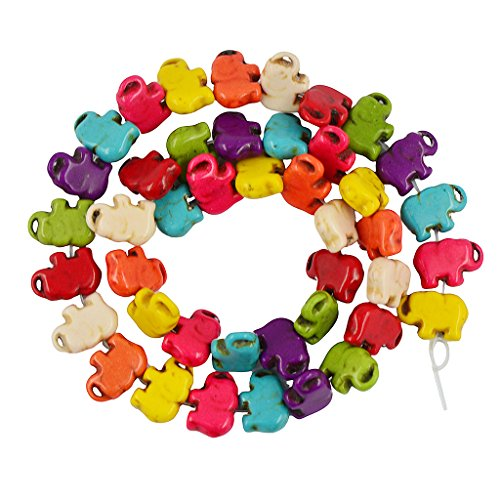 Generic 42pcs Colorful Turquoise Candy Elephant Loose Beads DIY Making Findings -