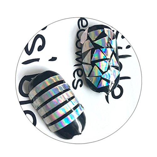 Multiple-Use Nail Art Gold Silver Stencil Stickers Glue Manicure Decor ()