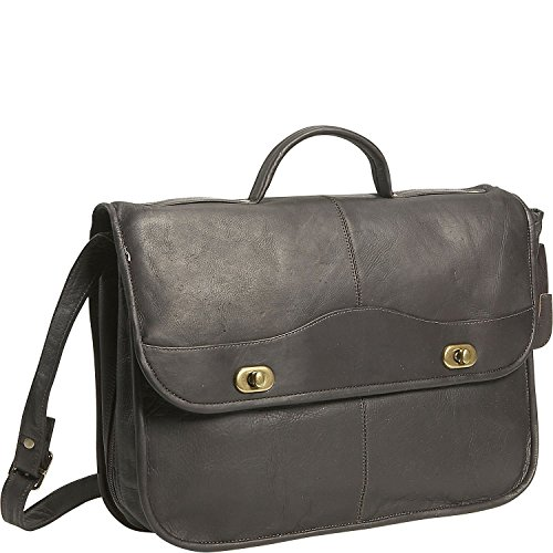 David King Leather 1/2/ Flap Over Expandable Briefcase in Cafe