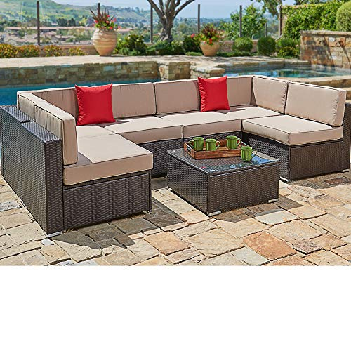 SUNCROWN Outdoor Patio Furniture Set (7-Piece Set) Brown Wicker Patio Sofa Set w/Brown Seat Cushions With YKK Zippers & Modern Glass Coffee Table | Patio, Backyard, Pool & Waterproof - Sofa Table Set Outdoor