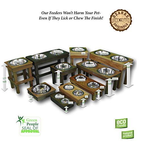 OFTO Raised Dog Single or Double Bowls - Solid Wood Cat and Dog Bowl Stands, with Embossed Stainless Steel Bowl(s) -Large, Medium, and Universal Sizes - Eco-Friendly and Non-Toxic - Made in the USA by OFTO (Image #3)