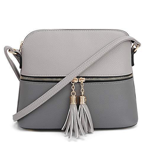 SG SUGU Lightweight Medium Dome Crossbody Bag with Tassel | Zipper Pocket | Adjustable Strap (Gray/Dark Gray)