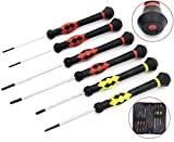 Precision Screwdriver SET OF 6 - Magnetic Flathead and Philips With NON-SKID Handle in Different SIZES / COLORS - Professional Repair Tool Kit For Electronics/ iPhone/ PC/ Jewelry/ Watch/ Eyeglass