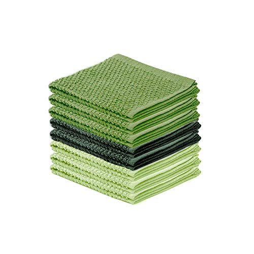 - DecorRack 8 Pack Kitchen Dish Towels, 100% Cotton Wash Cloth, Luxurious Soft, 12x12 inch Ultra Absorbent, Machine Washable Washcloths, Green (8 Pack)