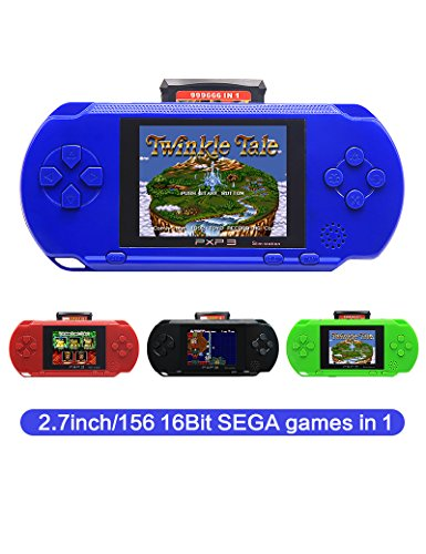 CZT 2.7 Inch 16 Bit SEGA Video Game Console Retro Game Handheld Player Portable Game Console Free 156 SEGA games for Kids gift Rechargeable lithium battery (Blue)