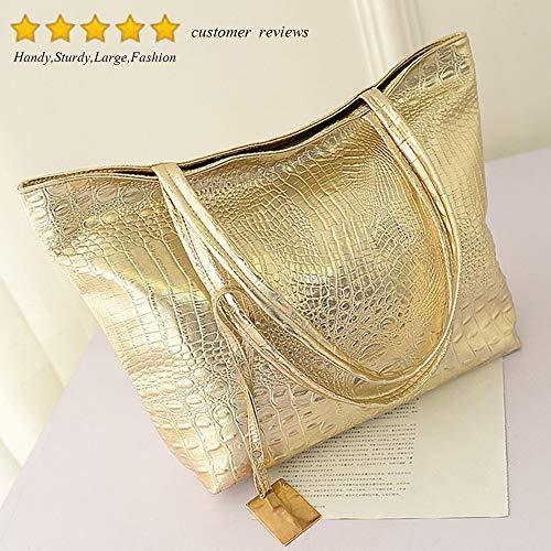 moderno per Borsa di Valentoria oro coccodrillo con sella capacità argento da grande stile donna placcato pelle tzddCwq