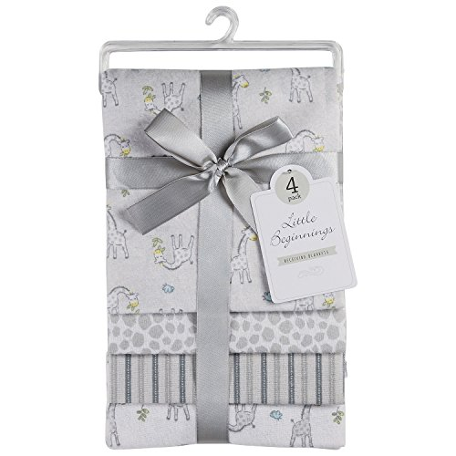 Little Beginnings 4 Pack Laddered Receiving Blanket, Giraffe Print ()