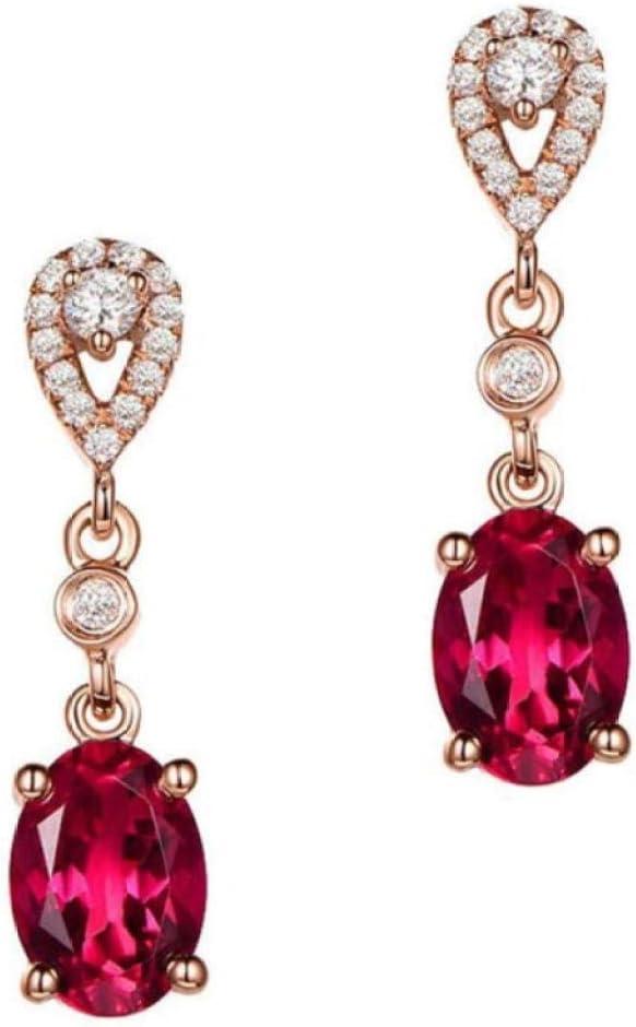 Pendientes Colgantes de Color Oro Rosa para Mujer Deslumbrantes Pendientes de Gota de Piedra de circón Rojo Joyas de Boda de Moda
