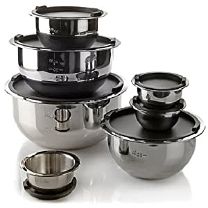 Stainless Steel Mixing Bowl Set 14 Piece by Elite Bistro