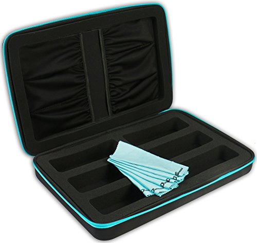eD ELITE SIX PACK STORAGE CASE with 6 Microfiber Cleaning Cloths for Active 3D glasses with foldable arms by eDimensional Elite Series by eDimensional