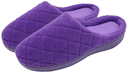 Foam Indoor Grid Coral Finoceans Memory Shoes Soft Mens Slippers Outdoor Fleece House Purple Womens Oq81vO