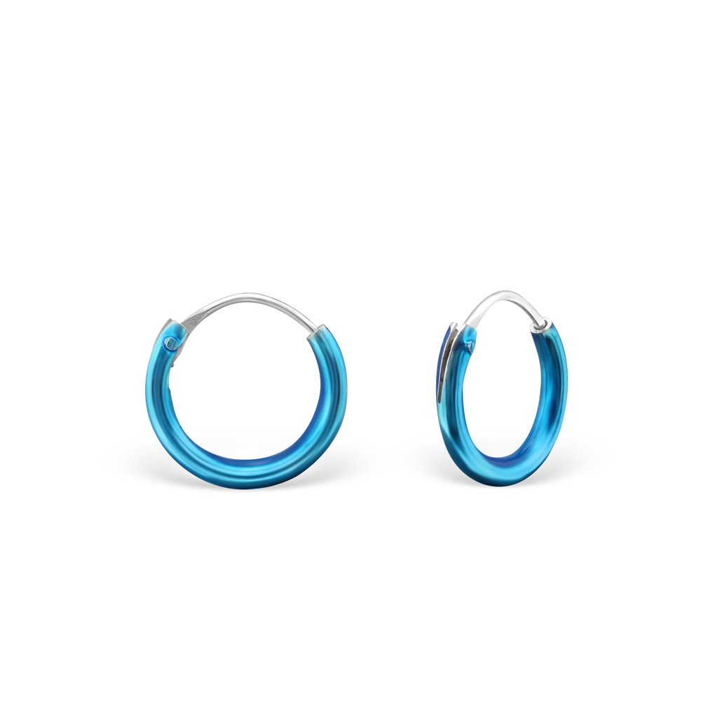 Nickel Free and Safe for Sensitive Ears Blue Hypoallergenic Silver Classic Earrings for Girls