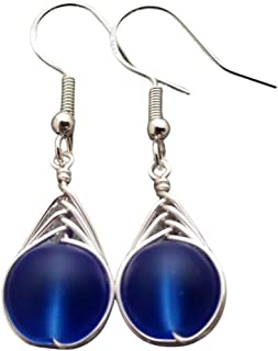product image for Handmade in Hawaii, wire braided small round cobalt blue sea glass earrings, (Hawaii Gift Wrapped, Customizable Gift Message)