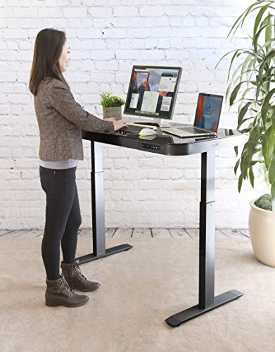 Seville Classics AIRLIFT Tempered Glass Electric Standing Desk with Drawer, 2.4A USB Ports, 3 Memory Buttons (Max. Height 47'') Dual Motors, Gray with Black Top by Seville Classics (Image #1)