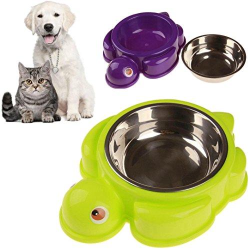 - Hometom Dog Bowls, Plastic Stainless Steel Dog Bowl Cat Food Bowl Single Bowl Pet Safety Turtle (Green)