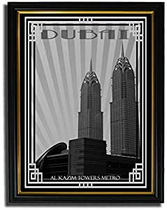 Al Kazim Towers Metro - Black And White With Silver Border F08-nm (a5) - Framed