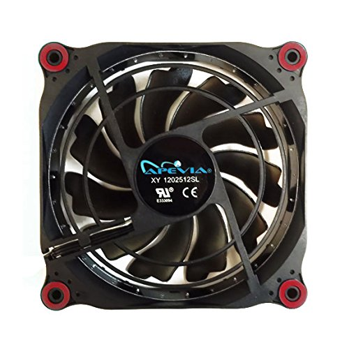 APEVIA 12L-DRD 120mm Silent Black Case Fan with 15 x Red LEDs & 8 x Anti-Vibration Rubber Pads by Apevia (Image #2)