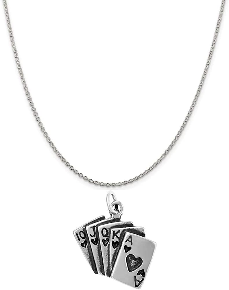 Raposa Elegance Sterling Silver Royal Flush Charm on a Sterling Silver 16 Cable Chain Necklace