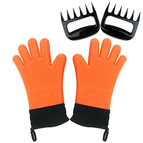 Silicone heat resistant gloves with meat claws