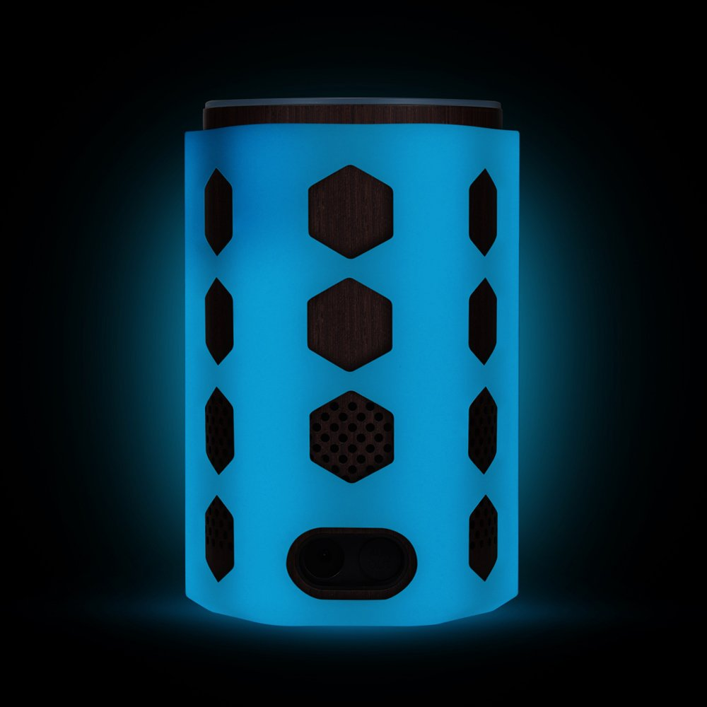 Silicone Case for Amazon Echo (2nd Generation), Protective Stand Cover Skin Sleeve, Anti-slip Hexagon Design, Impact & Drop Resistant, Precise Cutouts For Amazon Logo & Plug Hole (Glow Blue)