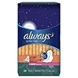 Always Ultra Thin Fresh Size 4 Overnight Pads with Wings, Scented, 24 Count (Pack of 6)