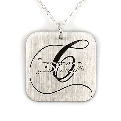 (A Hip Square Name Like No Other Personalized Necklace. Sterling Silver Pendant Showcases Names Plus Monogrammed Initial. Includes a choice of Sterling Silver Chain. Unique and Trendy Gifts for Her)