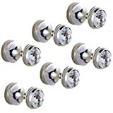 AUSWIND Mini White Crystal Glass Brass Silver Polish Wall Mounted Coat Hooks (6 Pieces)