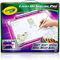 Crayola Light-up Tracing Pad - Pink, Coloring Board for Kids, Tracing Pencil and Sheets, 12 Colored Pencils, Easy...