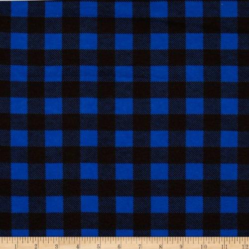 Camelot Fabrics Flannel Buffalo Plaid Blue/Black Fabric By The Yard
