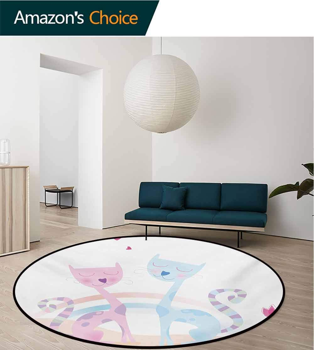 RUGSMAT Valentine Non-Slip Area Rug Pad Round,Cute Cats in Love Tulips and Hearts Illustration Romantic Feline Design Protect Floors While Securing Rug Making Vacuuming,Round-47 Inch