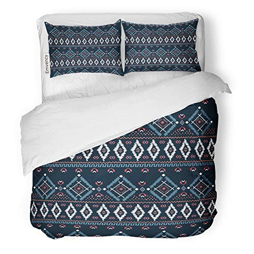 Emvency Decor Duvet Cover Set Full/Queen Size Blue Border Drawing Tribal Ethnic Pattern Designs and Navy Needlepoint Stitch 3 Piece Brushed Microfiber Fabric Print Bedding Set Cover
