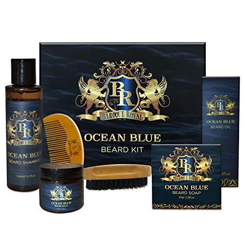 Luxury Beard Grooming Kit for Men (6 Piece) | All-Natural Care Set | Includes Conditioning Oil, leave in conditioning Balm, Beard Wash, Beard & Face Soap, Boar Bristle Brush & Comb | Mens Shaving Kit