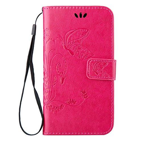 Fashion & personality Para Samsung Galaxy A7 (2016) / A710 Impresión de la textura del caballo loco horizontal Caja del cuero del tirón con el sostenedor y ranuras para tarjeta y carpeta y acollador,  Magenta